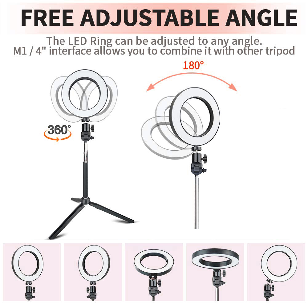 Dimmable LED Selfie Ring Light with Tripod USB with Stand for Cell Phone Studio