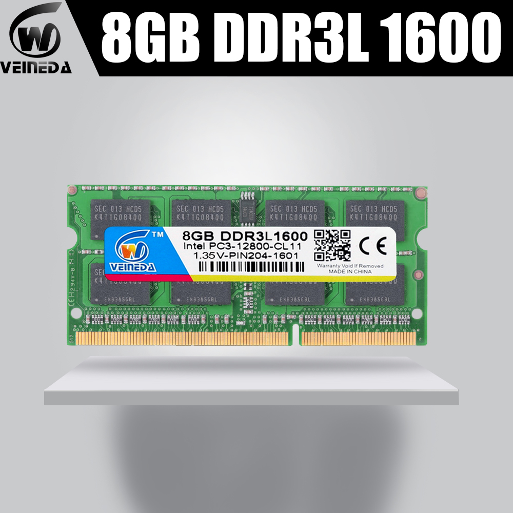 VEINEDA computer Laptop DDR3L DDR3 8GB 1600MHz <font><b>PC3</b></font>-12800 1.35V 204PIN DDR3L <font><b>1333</b></font> <font><b>PC3</b></font>-<font><b>10600</b></font> Sodimm <font><b>Ram</b></font> Compatible Intel <font><b>ddr3</b></font> image