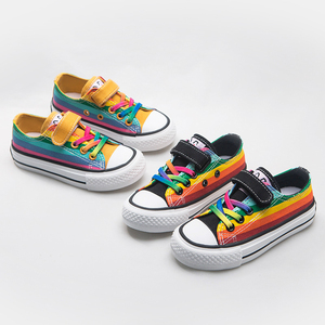 Kids Shoes for Girl Children Canvas Boys Sneakers 2020 Spring Girls Shoes Rainbow Short Solid Fashion Children Shoes Size 24-37