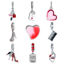 Authentic 925 Sterling Heart Love Clip Bag Purse Mirror Makeup Sparkling Stiletto Silver Pendant Fit Bead Charm Bracelet(China)