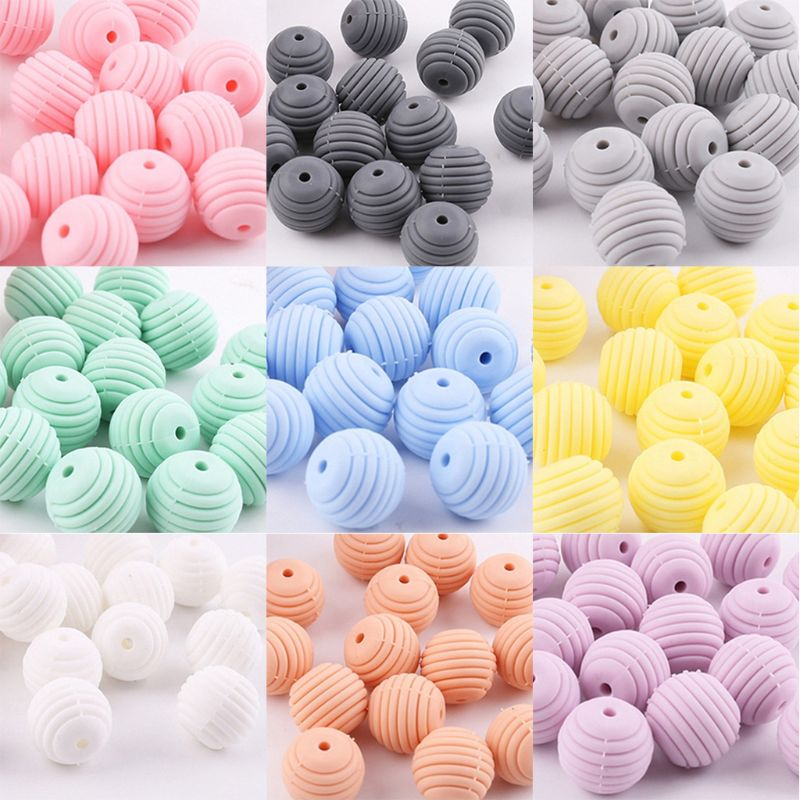 10 Pcs/pack Silicone Balls Baby Teething Spiral Round Beads DIY Necklace Infants Teether Pacifier Chain Accessories