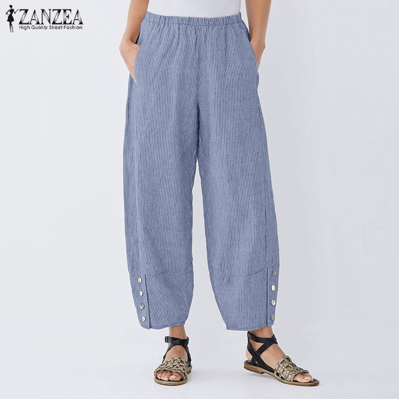 ZANZEA Women Wide Leg Pants Elastic Waist Striped Harem Pants Female Pockets Trousers Casual Loose Vintage Pantalon Plus Size