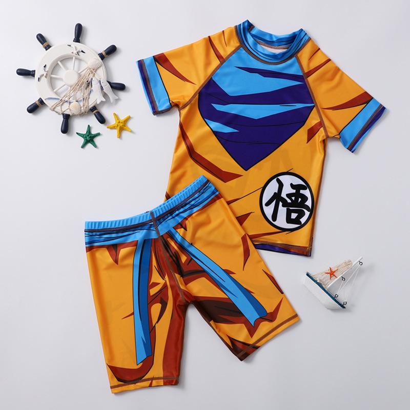 KID'S Swimwear Quick-Dry Sun-resistant BOY'S Small CHILDREN'S Big Boy Split Type Dragon Ball Kids One-piece Goku Cartoon Tour Ba