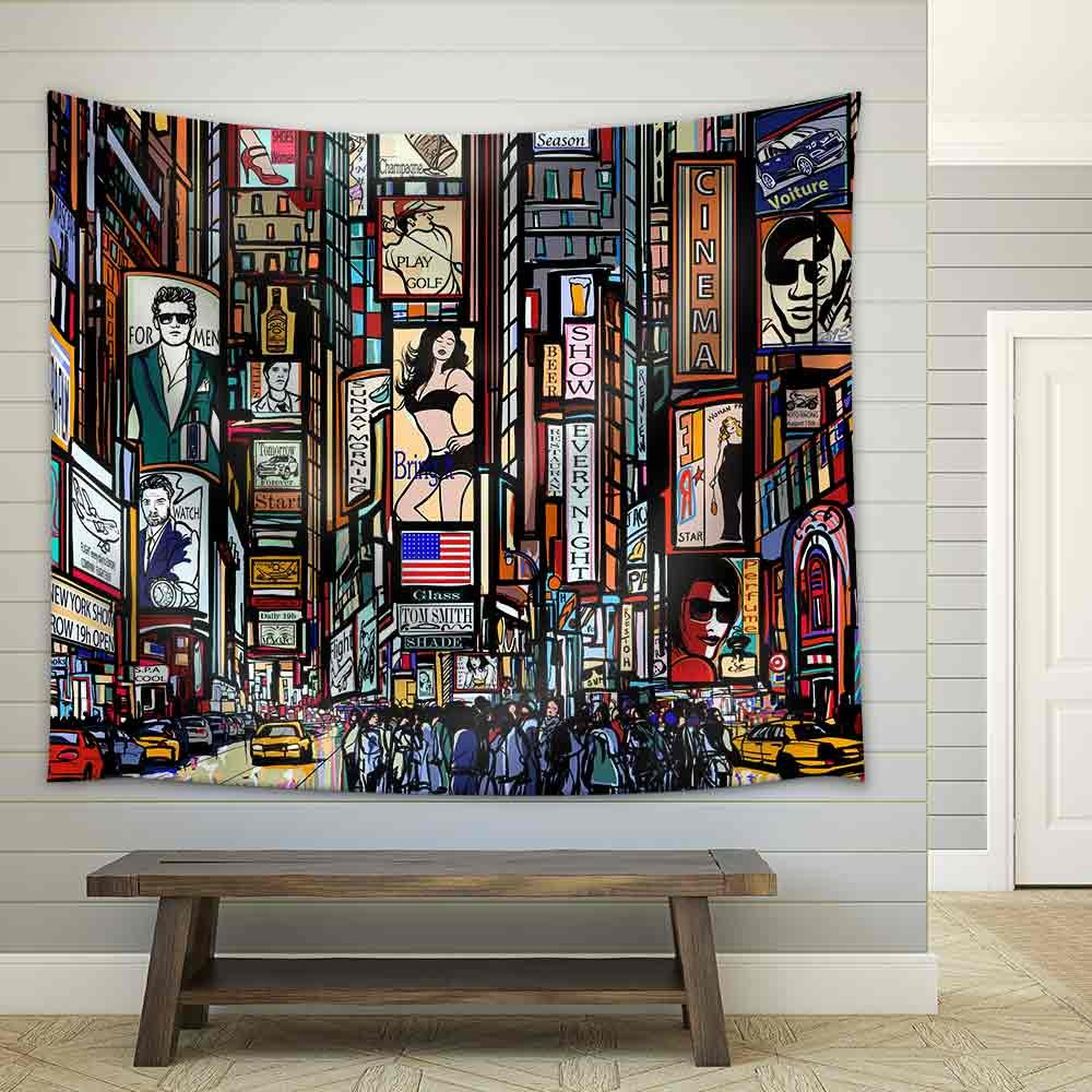 Illustration of a Street in New York City Fabric Wall Tapestry Home Decor