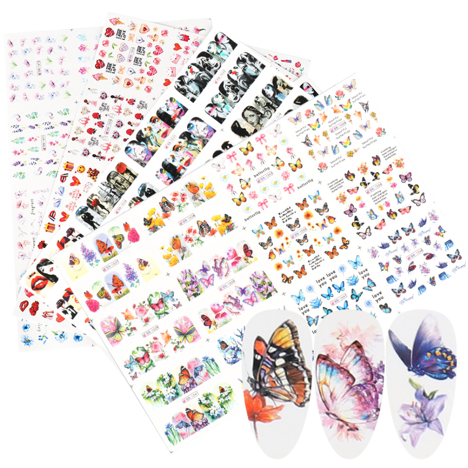 12pc/Set Butterfly Letter Stickers Nail Art Water Transfer Decals Flower Girl Design Foils Manicure Decor Sliders LABN1525-1560
