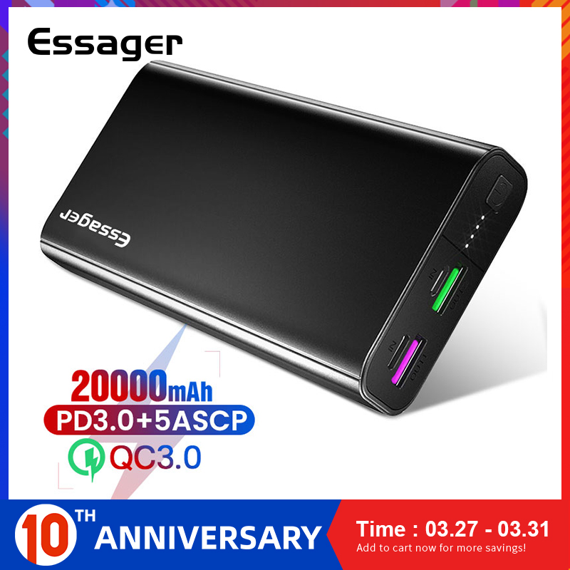 Essager 20000mAh <font><b>Power</b></font> <font><b>Bank</b></font> PD QC 3.0 Fast Charge Portable Powerbank <font><b>20000</b></font> mAh External Battery Charger For Xiaomi iPhone Huawei image