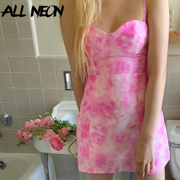 ALLNeon E girl Bandage Spaghetti Strap Tie Dye Party Dresses Sweet Backless Slit Hem A-line Mini Dress Fashion Summer Cami Dress cartoon goose print ruffle hem cami dress