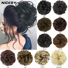 Curly Chignon Hairpiece Bun Extensions Rubber-Band NICESY Synthetic Women Girls Kids