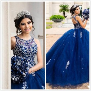 Роскошный с бисером, кристаллы, кружево, синий, Quinceanera, вырез лодочкой, с открытой спиной, тюль, бальное платье, выпускной, вечерние платья 16