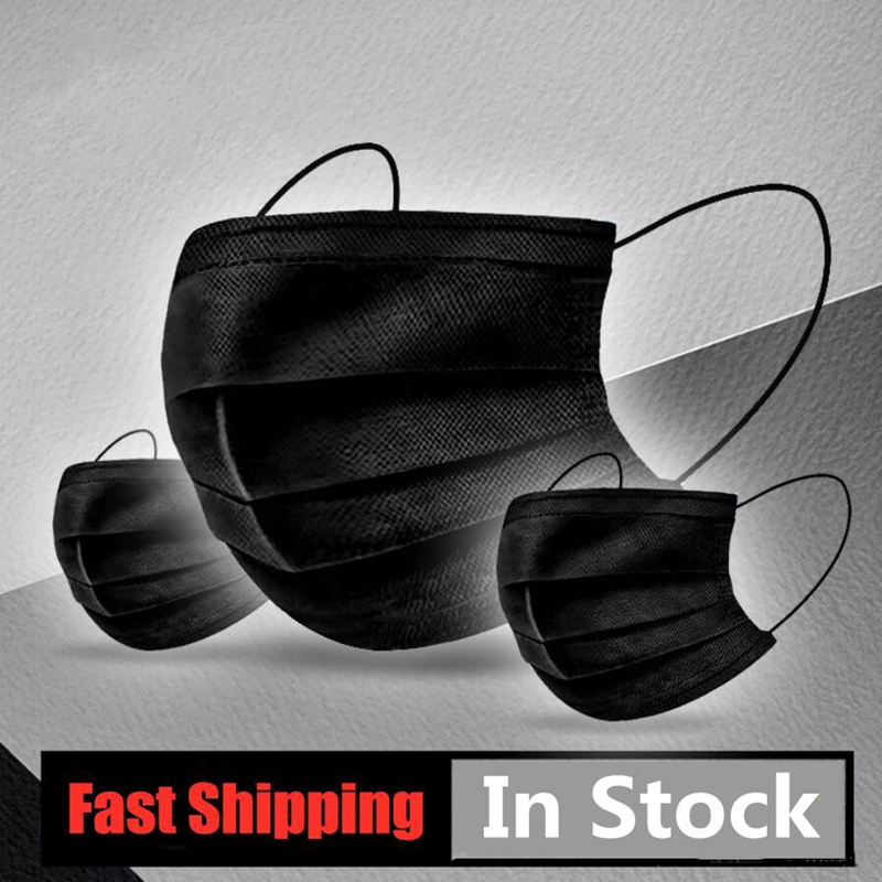 10/20/50/100/200Pcs Black Disposable Masks Mouth Cover Mask Cotton Non Woven 3 Layer Non Woven Face Cover Mask