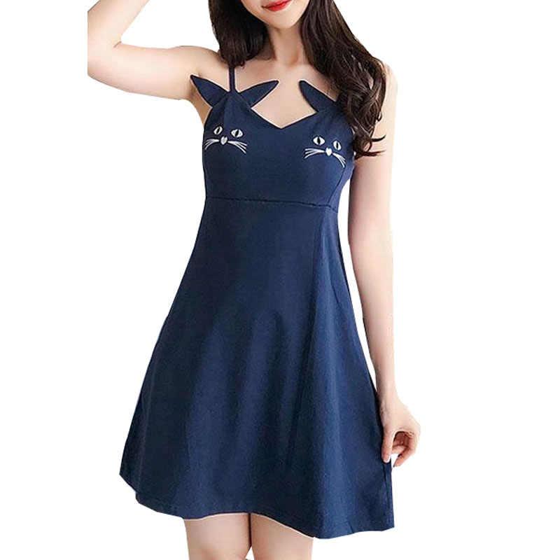 Musim Panas Seksi Tanpa Lengan Tali Gaun Mini Wanita Baru Fashion Kucing Bordir Warna Solid Gaun Wanita Kasual Slim Gaun