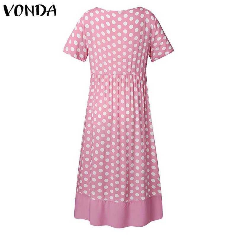 VONDA elbise kadınlar seksi O boyun kısa kollu Vintage nokta baskılı Maxi uzun elbiseler gevşek Bohemian parti elbise Femme Sundress s-5XL