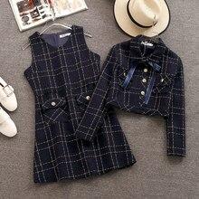 Взлетно-посадочной полосы Для женщин твидовая юбка комплект осенне-зимнее платье в клеточку с бантом отложной короткая куртка с воротником пальто+ шерстяное пальто модное платье комплект из 2 частей