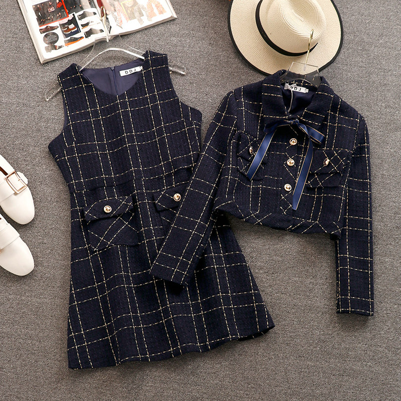 Runway Women Tweed Skirt Set Fall Winter Plaid Bow Turn Down Collar Short Jacket Coat + Woollen Vest Dress Fashion 2 Piece Set