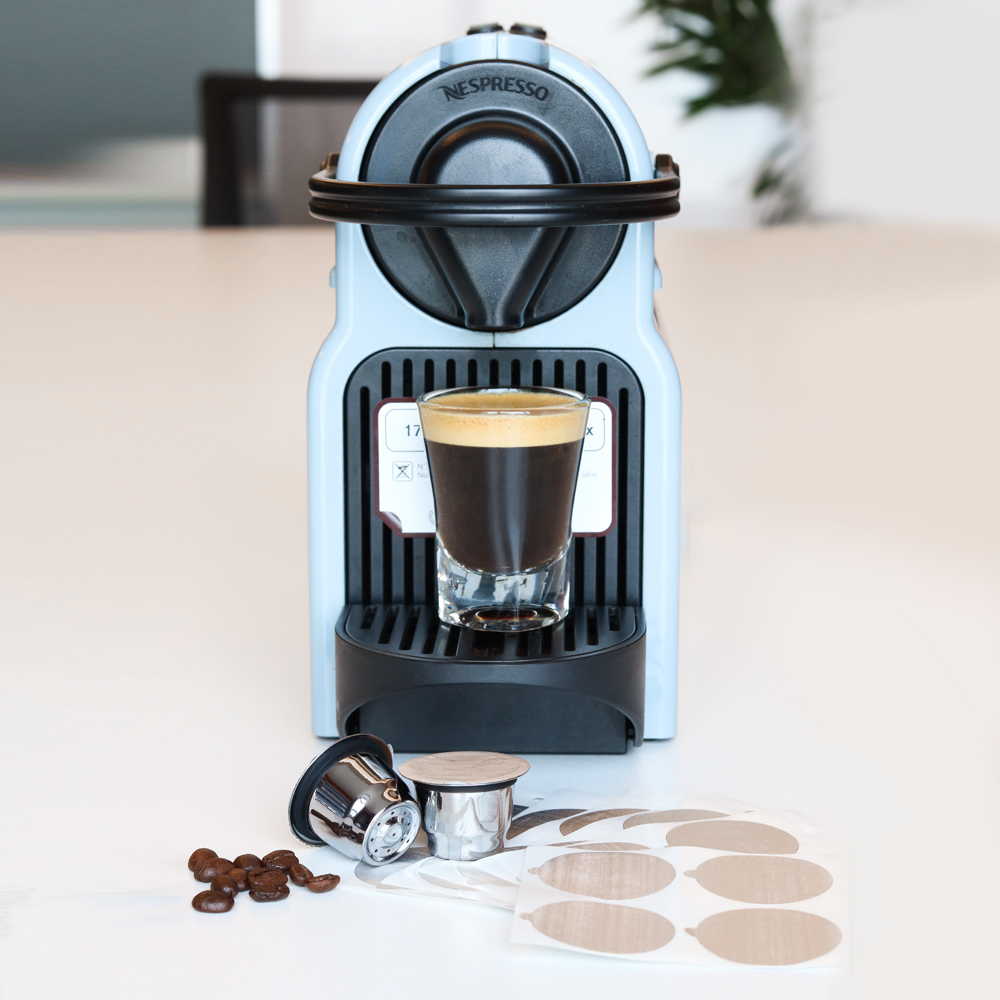 ICafilas Refillable Reusable Coffee Filters Cup For Nespresso Stainless Steel Empty Coffee Capsule Pods With Aluminum Seal Lids