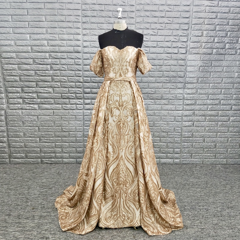 High Quality Sweetheart Off Shoulder Gold Sequined A Line Formal Gown Evening Wear Night Dress