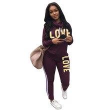 Two Piece Set Women LOVE Letter Print Tops And Elastic Waist Pants Casual Tracksuit Sweat Suit Plus Size S-3XL