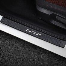 4PCS Car Door Sill Scuff Plate Stickers For Kia Picanto Anti Scratch Protector Auto Carbon Fiber Decals Car Tuning Accessories