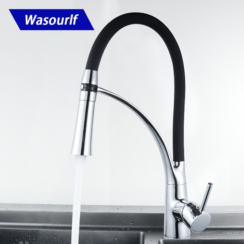Wasourlf Kitchen Faucet Pull Out Brass Mixer Tap Sink Faucet Sprayer Chrome Black Colour Hot And Cold High Quality Spain