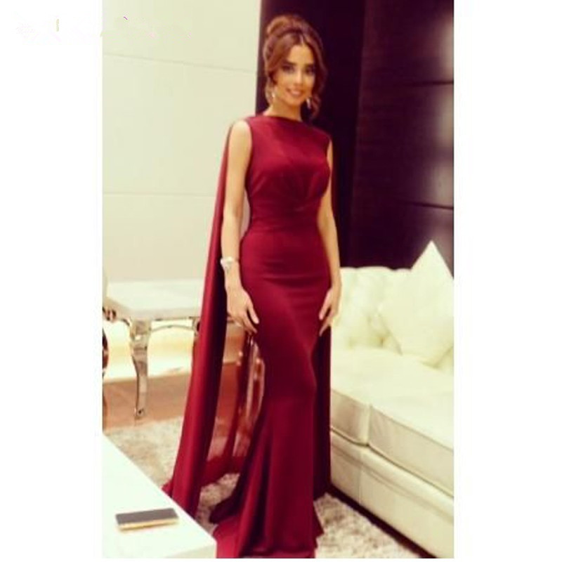 Robe De Mariee Arabic Design Long Formal Evening Gown Burgundy Mermaid Robe With Cape Sweep Train Mother Of The Bride Dress