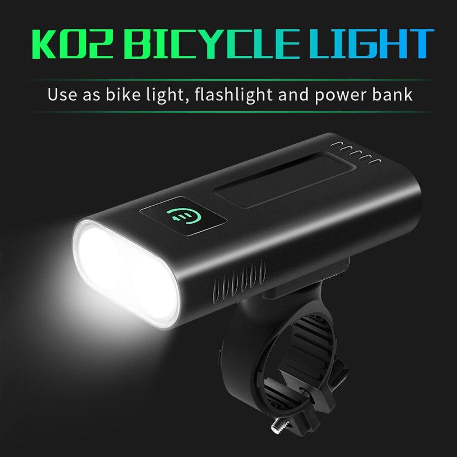 NEWBOLER Powerful Bicycle Headlight 5200mAh USB Rechargeable Bike Light Front Waterproof LED Bike Flashlight Cycling Accessories
