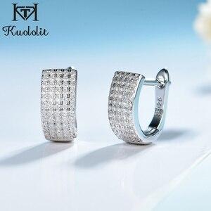Image 1 - Kuololit Zircon Gemstone Hoop Earrings For Women Solid 925 Sterling Silver Wedding Engagement Band Earrings Fine Fashion Jewelry