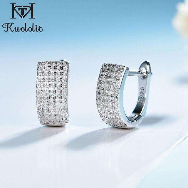 Kuololit Zircon Gemstone Hoop Earrings For Women Solid 925 Sterling Silver Wedding Engagement Band Earrings Fine Fashion Jewelry
