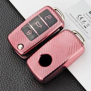 цена на 2020 Carbon fiber TPU car key case For VW Tiguan Golf Passat Polo Jetta Octavia Lavida Touareg SANTANA smart key case cover