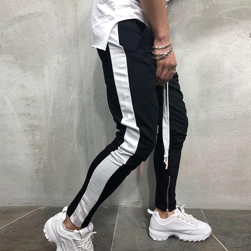 Casual Pants Men Hip Hop Skinny Trousers Track Bottom Sweatpants Streetwear Man Pant Side Stripe Fashion Mens Joggers Pants