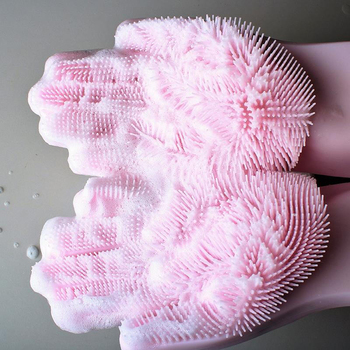 eco-friendly magic silicone dish washing gloves with scrubber for cleaning