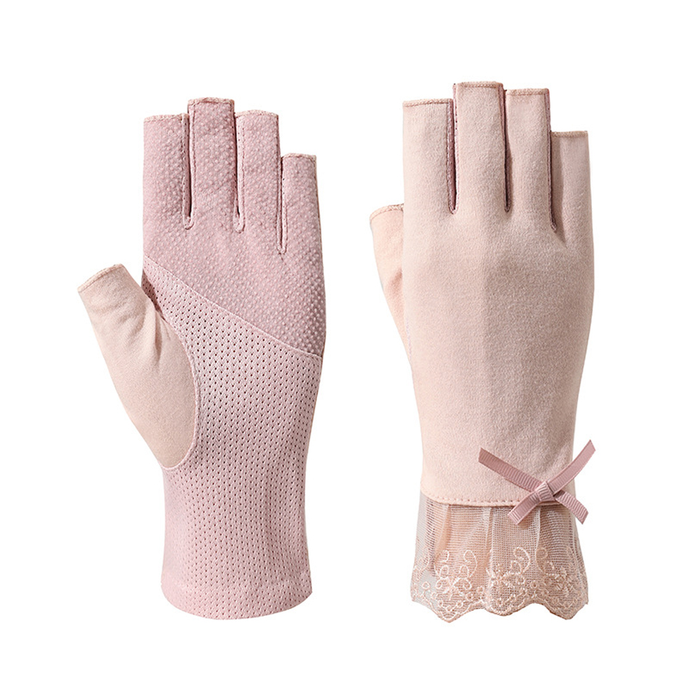 Cycling Fashion Summer Women Bow Lady Half Finger Gloves Lace Mitten Flower Thin Gloves