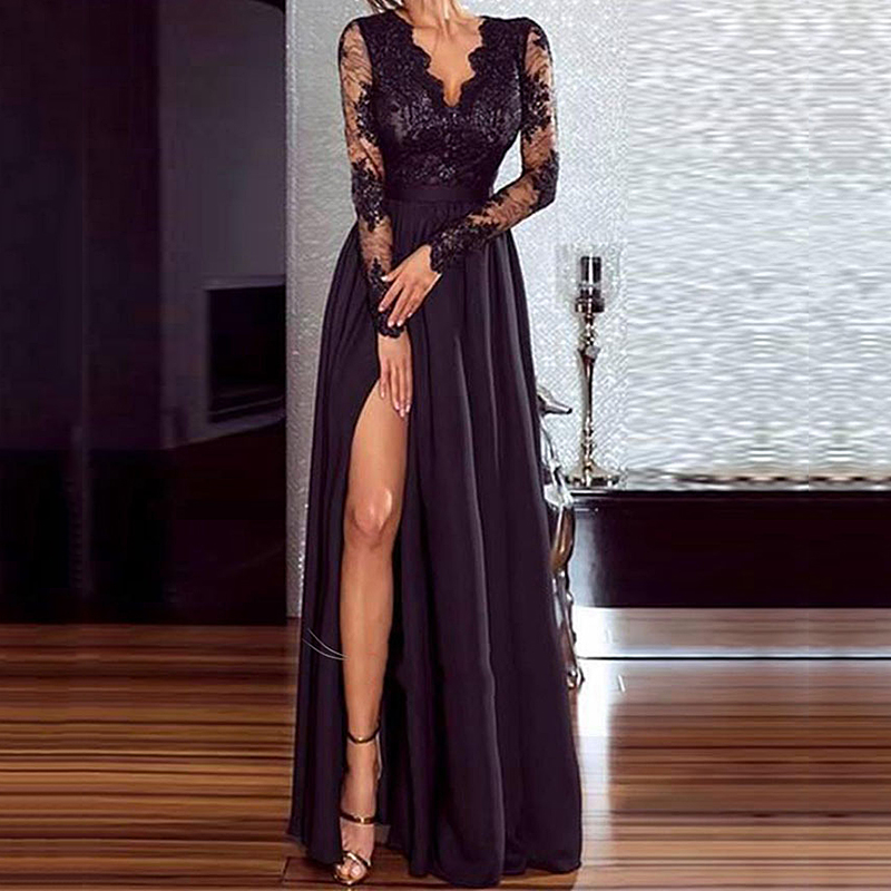 Women Sexy Black Lace Dress Elegant Wedding Party Dresses V Neck Long Sleeve Split Long Evening Party Perspective Ladies Dress