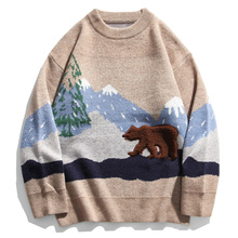 Knitted Sweater Oversize Clothing Hip-Hop-Streetwear Mens Cotton Autumn No Loose Snow-Mountain-Bear