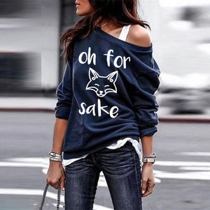 Chic Fall Oh for Sake Letter Cartoon Fox Fashion Women Loose Female Tops for Women Pullovers Mujer Crewneck Sweatshirt Strapless(China)