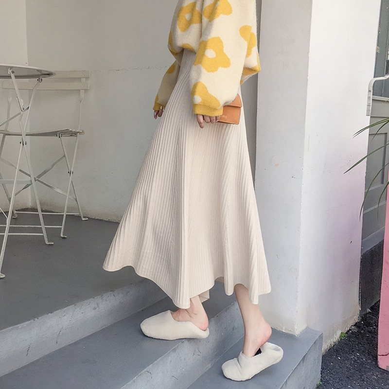 Korean-style WOMEN'S Wear Autumn And Winter New Style Knitted Skirt Women's Long Pleated Skirt High-waisted A- Line Full Skirt B