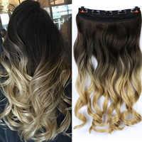 MUMUPI Clip In Haar Verlängerung Ombre 24 Zoll Blonde Schwarz Vollen Kopf Synthetische Natürliche Lockige Wellenförmige Haarteil Haar Stück Headwear