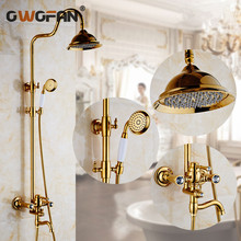 Shower Faucets Golden Bathroom Faucet With Hand Shower Nozzle for Mixer Rainfall Top Spray Attachment On The Crane Mixer 2052K shower faucets bathroom cabin showerhead top spray raining faucet brass shower sets gold home decoration the mixer crane oyd008r