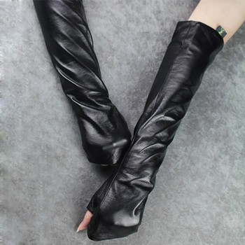 CHICEVER Autumn Black Gloves For Women Female Ladies Reveal Finger Thin Section Leather Glove Clothing Accessories Fashion New 1