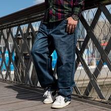 Мужские весенне-осенние широкие брюки, мешковатые джинсы, мужские синие прямые джинсы в стиле хип-хоп, свободные длинные джинсы, мужские брюки размера плюс 42, 44, 46