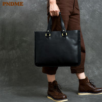 PNDME business casual simple genuine leather men's ladies briefcase high quality soft cowhide laptop shoulder messenger bags