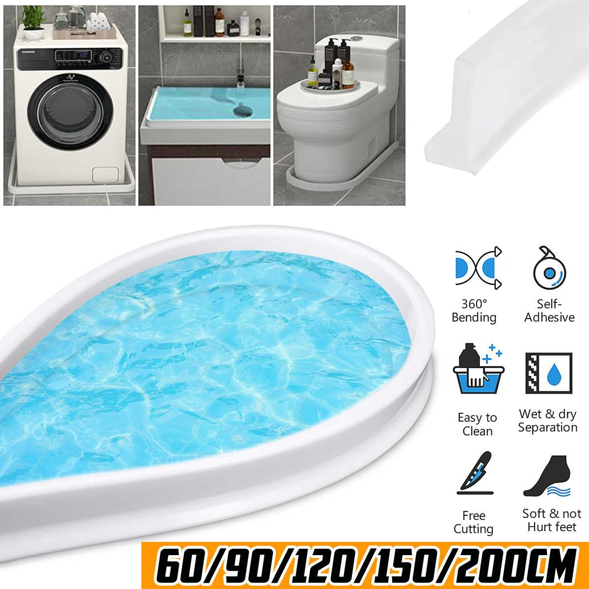 150cm Bathroom Water Stopper Flood Barrier Rubber Dam Silicon Water Blocker Dry and Wet Separation Home Improve