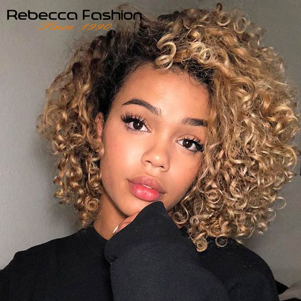 Rebecca Short Water Wave Human Hair Lace Wigs For Black Women Peruvian Remy Hair Short Curly Bob Natural Wave Ombre Blond Wig
