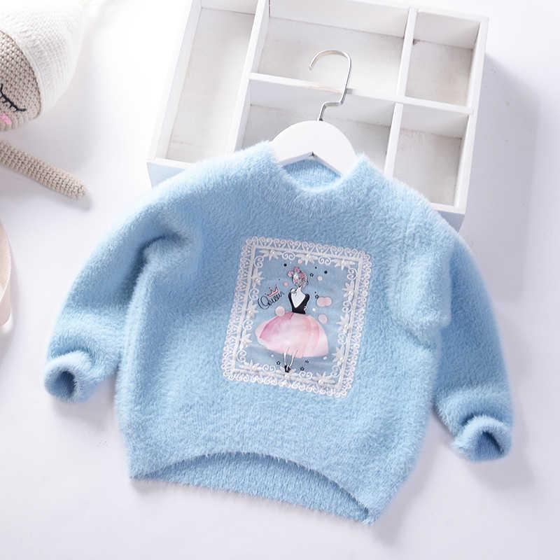 2019 Otoño Invierno nuevos suéteres de terciopelo para niñas suéter caliente de dibujos animados sandía flamenco helado niños Cltothing