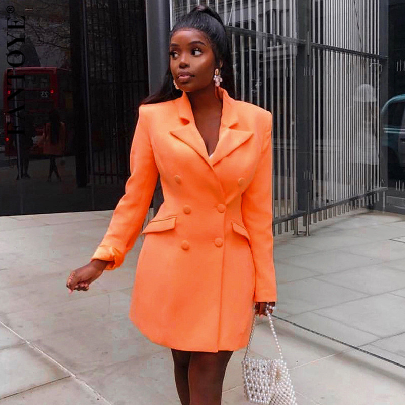 FANTOYE Elegant V-Neck Long Sleeve Women's Suit Female Blazer Jackets Sexy Pocket Suit 2019 Autumn Office Outfits Breasted Coats