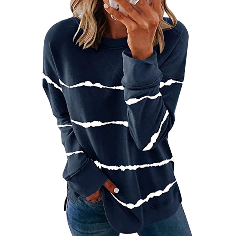 Striped Print Long Sleeve Black Hoodies Women 2020 Big Size 5XL Casual Tee Black Autumn Top O-Neck Loose Sport Ladies Hoodies 9