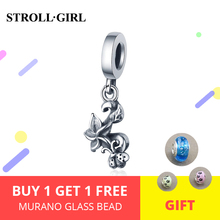 Strollgirl 925 sterling silver Cute seven-spot ladybugs And Flower Charms Beads Fit Charm Bracelet Women DIY Jewelry Accessories
