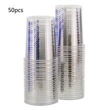 50 stücke Einweg Klar Absolvierte Kunststoff Mischen Tassen Für Farbe Uv Harz Epoxy 20 Unzen 600ml Mess Verhältnisse