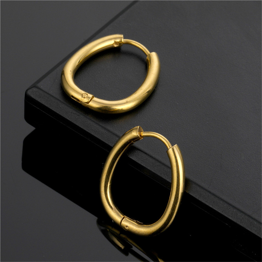 Simple Geometric Hoop Earrings Stainless Steel Gold Color Round Circle Earrings for Women Fashion Punk Jewelry Brincos 2020