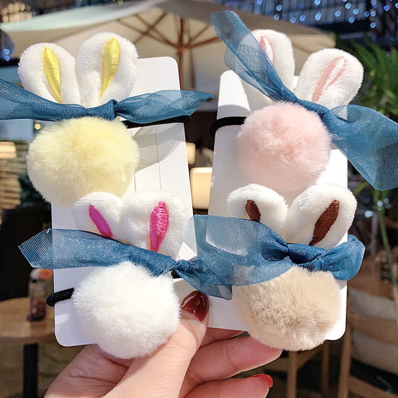 New Cute Rabbit Plush Hair Ties For Girls Women Korean Solid Color Hair Rope Rubber Band Lady Hair Accessorues Elastic Hair Band