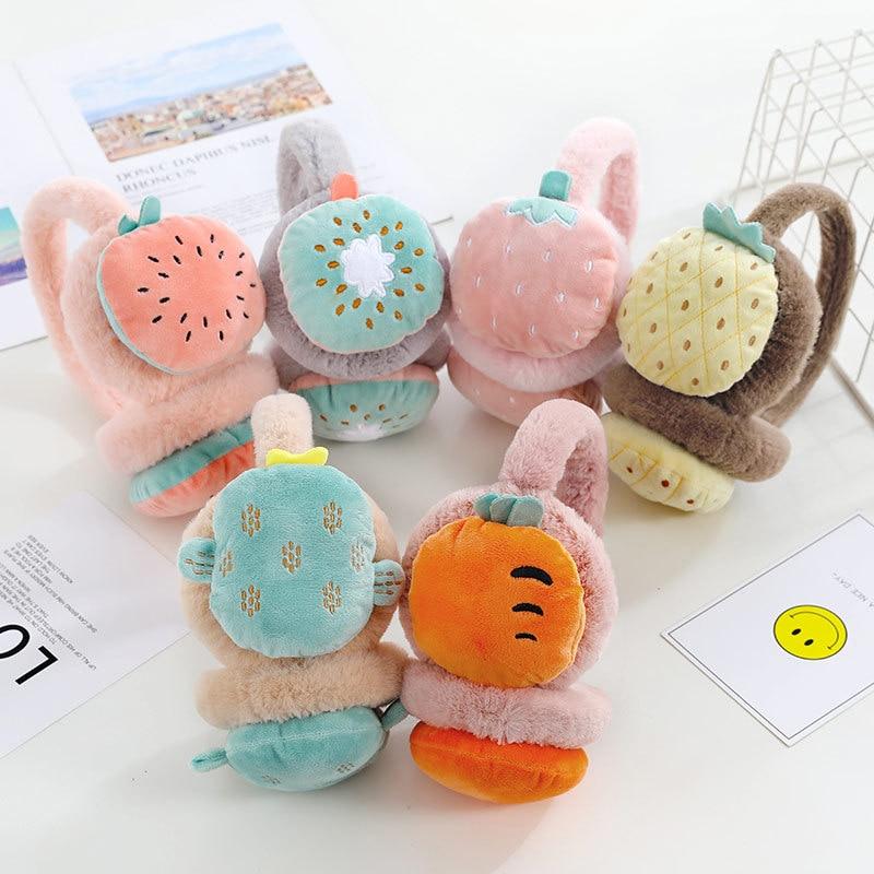 Cute Fruit Fur Earmuffs Kids Ear Muffs Winter Accessories for Women Ear Warmer Cover Headphones for Children Cache Oreille Dames